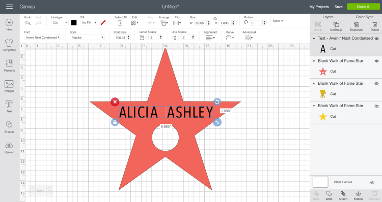 Place name over star