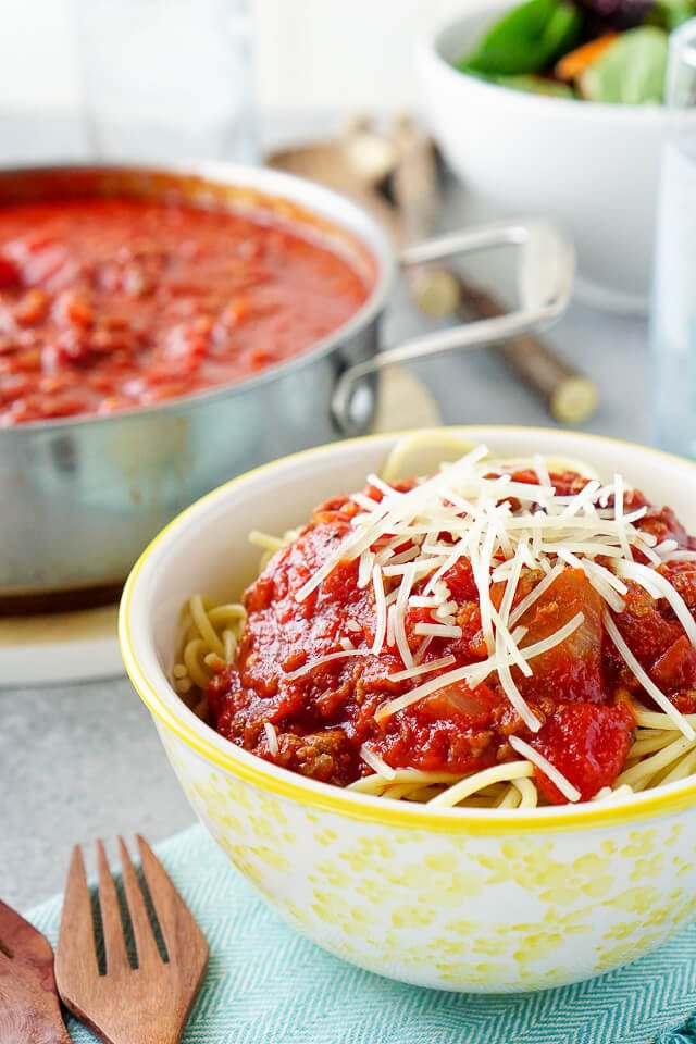 This is the best meat sauce you'll ever eat -- and it's fantastic on spaghetti, tortellini, stuffed shells, or whatever else you can think of! A very easy recipe that comes together in about 30 minutes.