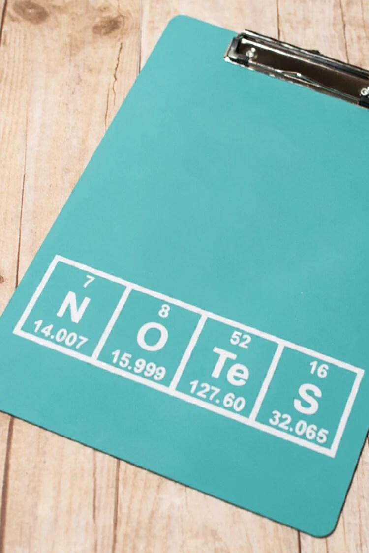 Need a gift for a science teacher? This Periodic Table Clipboard Teacher Appreciation Gift is the perfect gender-neutral teacher gift!