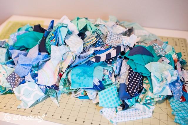 fabric scraps for DIY ombre rag wreath