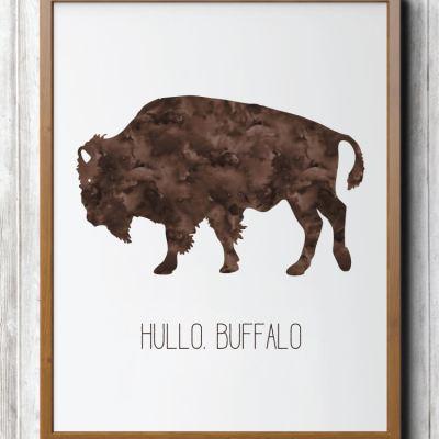 Hullo Buffalo Art Print