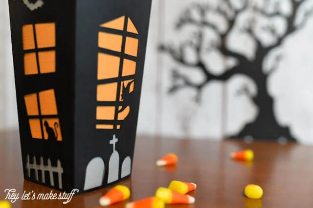 paper Halloween haunted house candy box made from a Cricut machine