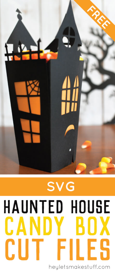 Using your Cricut or other cutting machine, make this fun Halloween haunted house candy box! Includes free cut files! via @heyletsmakestuf