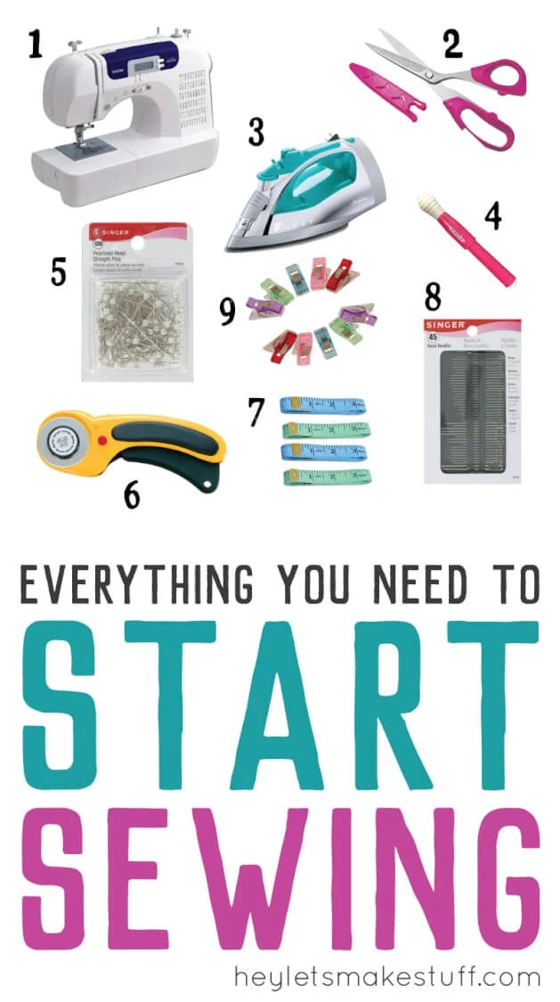 Sewing Gift Guide! Need a gift for someone who wants to learn how to sew? Here's a gift guide with everything they'll need to get started: sewing machine, scissors, iron, pins, seam ripper, rotary cutter, tape measure, sewing needles, and, my secret weapon, Wonder Clips! via @heyletsmakestuf