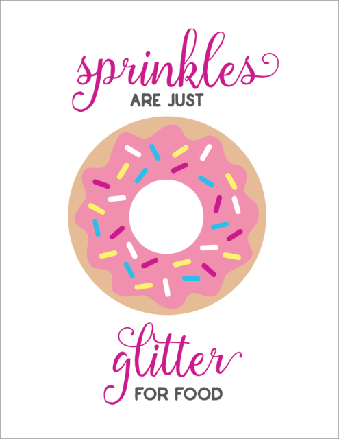 Sprinkles are Just Glitter for Food -- a cute free sprinkles printable for your kitchen or nursery!