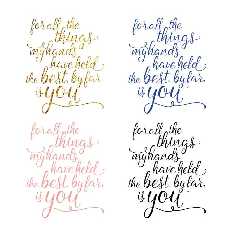 Free printable for your nursery with the Andrew McMahon in the Wilderness lyrics: for all the things my hands have held, the best, by far, is you. Perfect for your significant other or wedding as well!
