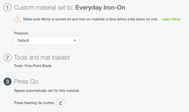 Settings for using Iron On Vinyl