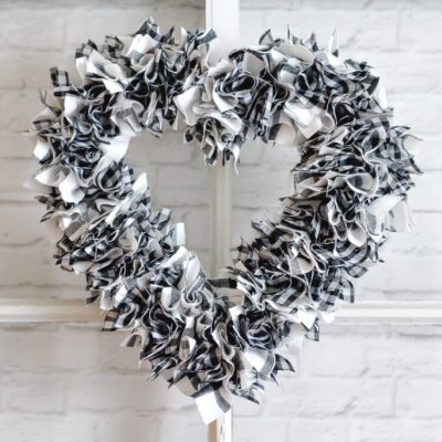 One-Hour Scrappy Fabric Heart Wreath