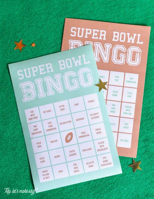 Get the whole family in on the Super Bowl action! Even if they're not football fans, they'll enjoy playing Super Bowl bingo. Includes ideas for prizes and a TON of other fun ideas for game day!
