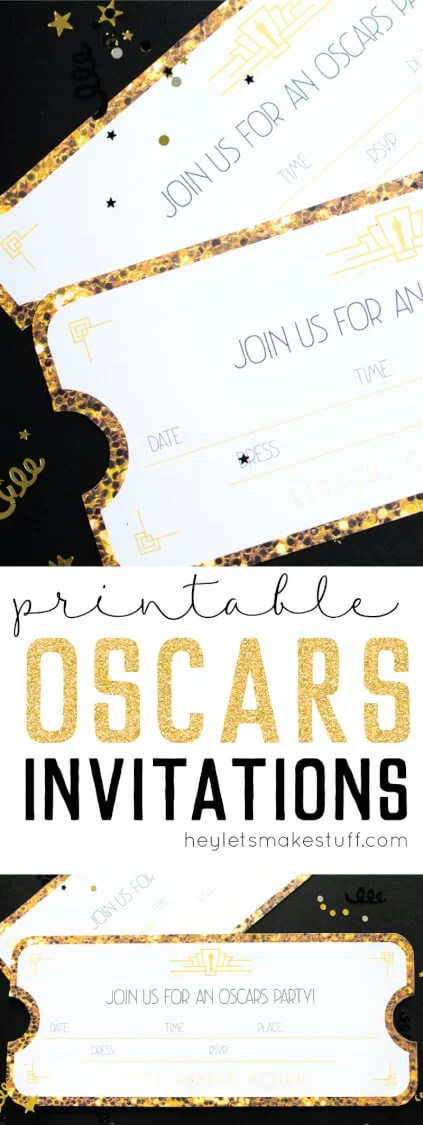Throwing an Oscar party this year? These printable Oscar invitations are the perfect way to invite your friends to walk your own red carpet! via @heyletsmakestuf