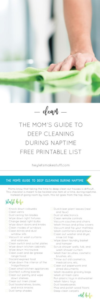 Moms know that taking the time to deep clean our houses is difficult. This checklist is meant to be tackled one item at a time, during naptimes!