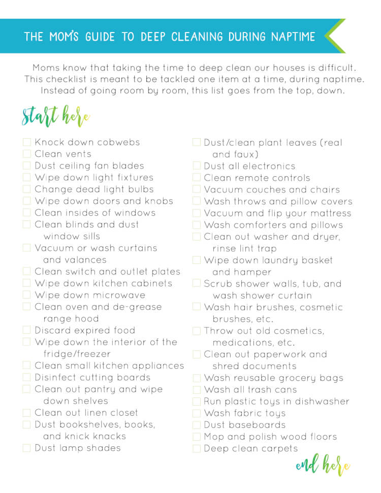 Moms know that taking the time to deep clean our houses is difficult. This checklist is meant to be tackled one item at a time, during naptime. Instead of going room by room, this list goes from the top, down. #DustOff #ad