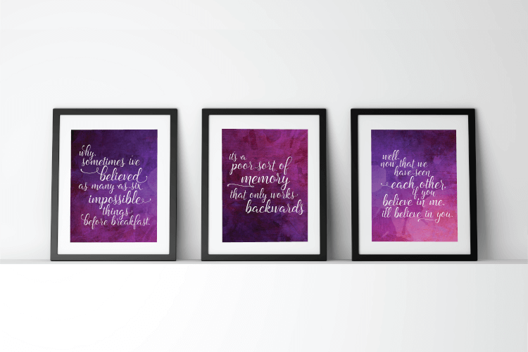 """Download these printable """"Alice Through the Looking Glass"""" quotes for your home! Alice in Wonderland   Movie Quotes   Printables"""