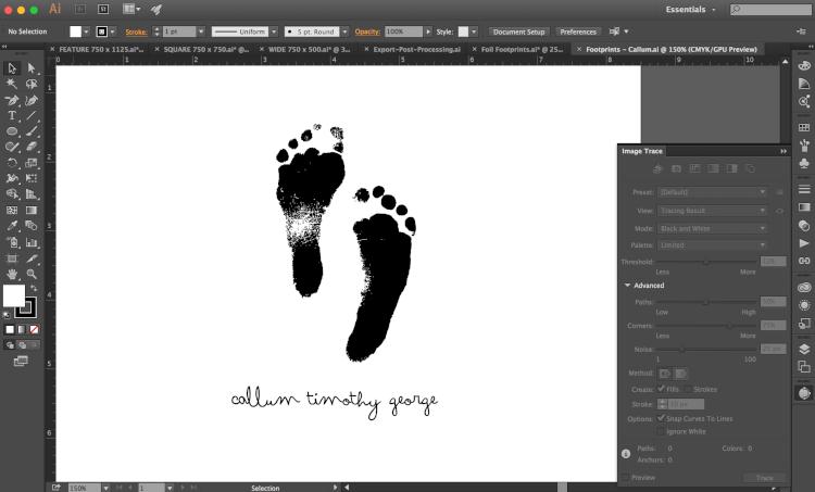 screenshot of newborn's footprints in Illustrator
