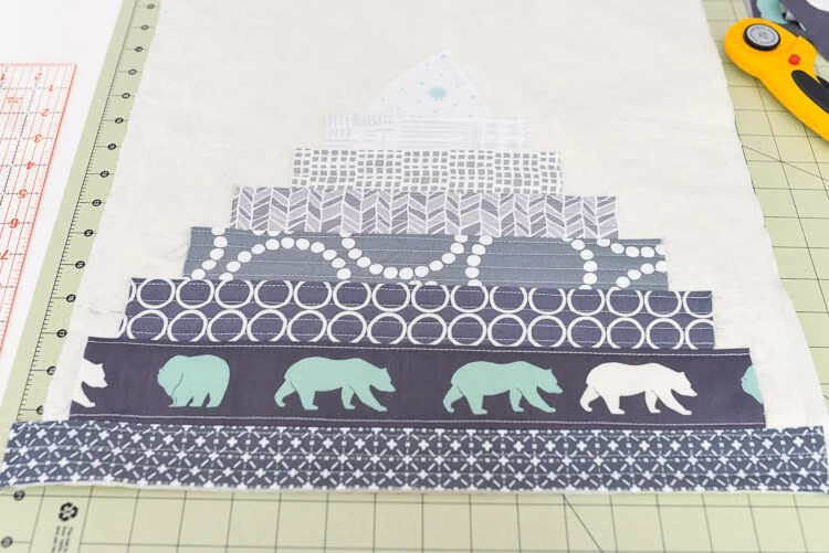 Bear Mountain quilt-as-you-go (QAYG) block step 6