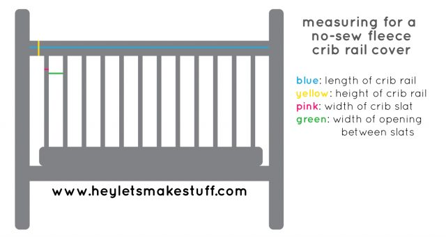 drawing of how to measure no-sew fleece crib rail covers