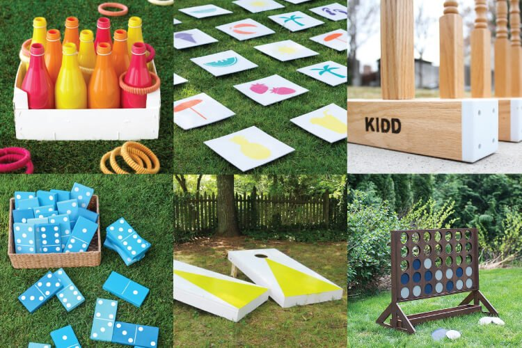 outdoor wedding games collage