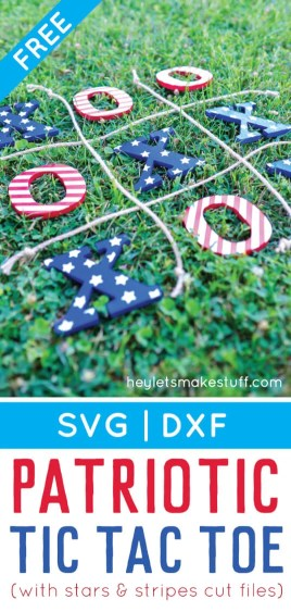 This 4th of July tic tac toe is the perfect easy-to-carry game to bring to a patriotic picnic, barbecue, or fireworks celebration! Get the free cut files to make this 4th of July craft.