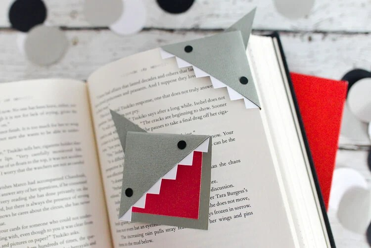 DIY Shark Bookmarks in book