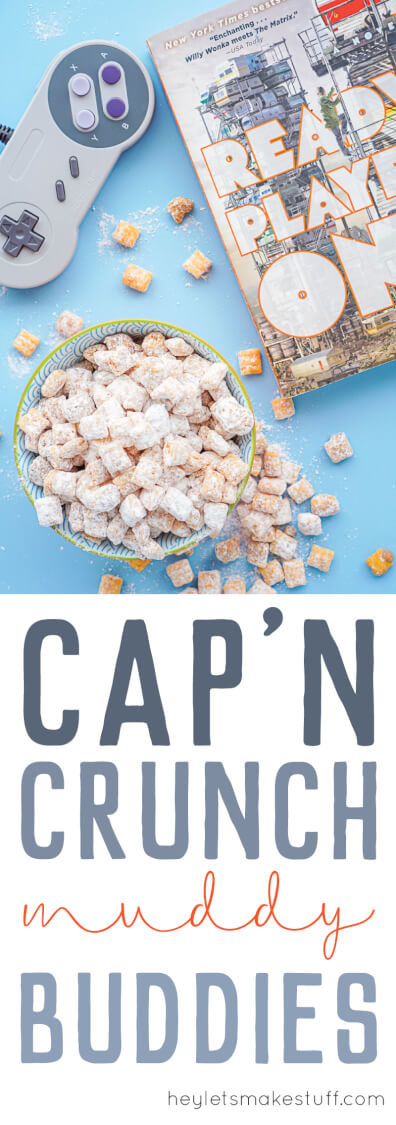 Cap'n Crunch Muddy Buddies are the ultimate sweet buttery snack! Get the recipe and see a bunch of other fun details from our 80s throwback Ready Player One book club. #gathernow [ad]