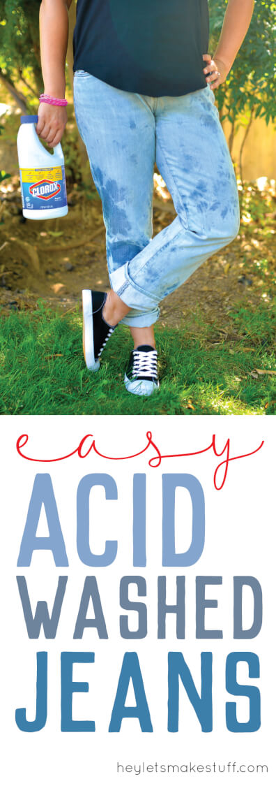 Acid wash your jeans for a fun 80s look. Simple rubber bands and bleach -- that's pretty much all you'll need! Check out this tutorial and other fun details from our Ready Player One Book Club. #gathernow {ad}