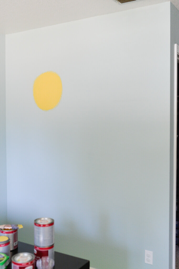 painted flower wall mural using Frog Tape - step 1