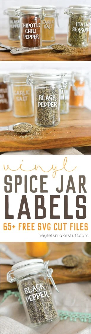 This set of 65 spice jar labels can be cut on a Cricut Explore or other electronic cutting machine -- perfect to organize your spice cabinet! via @heyletsmakestuf
