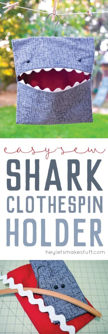 This easy-sew shark bag is perfect for holding clothespins! This easy sewing tutorial shows you how to make this cute shark bag.