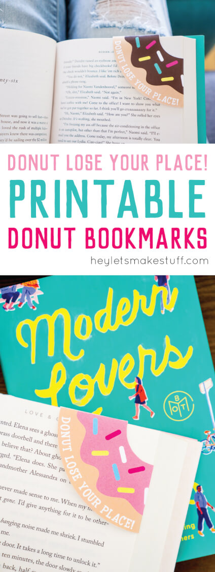 fun printable donut bookmarks pin image
