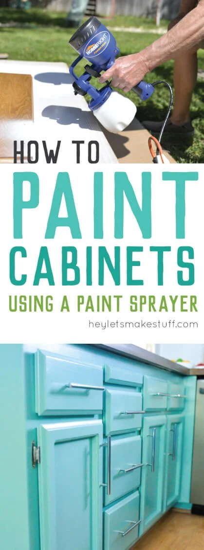 how to paint kitchen cabinets using a sprayer pin image