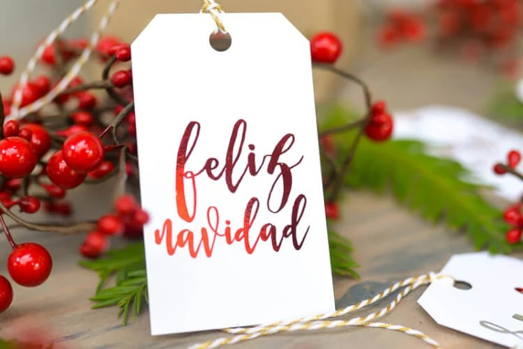 foiled Christmas gift tags
