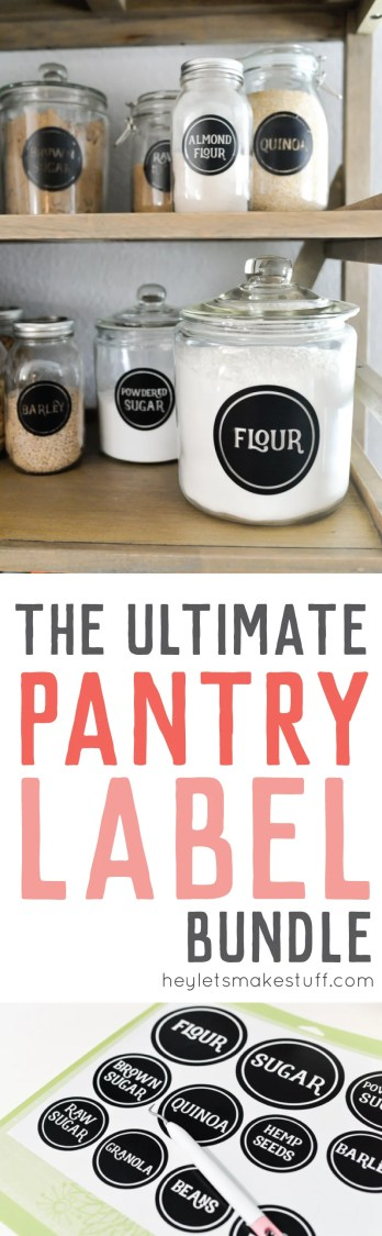 Organize your pantry with these vinyl pantry labels! Download this ultimate bundle of 126 SVG labels, and cut them out on your Cricut or other electronic cutting machine! Includes a tutorial for applying the vinyl labels to your jars or canisters.