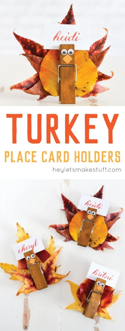 These easy turkey place card holders are super simple to make -- gather fall leaves and attach them to a clothespin with eyes and beak to make a Thanksgiving place card everyone will love.  via @heyletsmakestuf