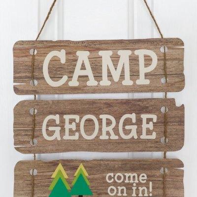 Camping Birthday Door Sign