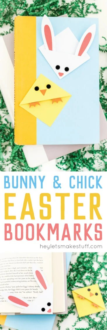 These Easter bookmarks -- a bunny and chick -- can either be cut on a Cricut or Silhouette or cut by hand! The perfect handmade gift for any Easter basket. via @heyletsmakestuf