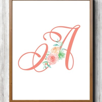 Free Printable Pink Floral Nursery Initials