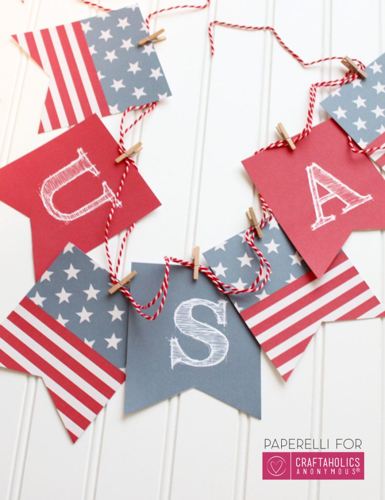 Craftaholics Anonymous - Printable Patriotic Banner - Celebrate the 4th of July with these free patriotic printables! Get more than 20 red, white, and blue printables from your favorite bloggers!