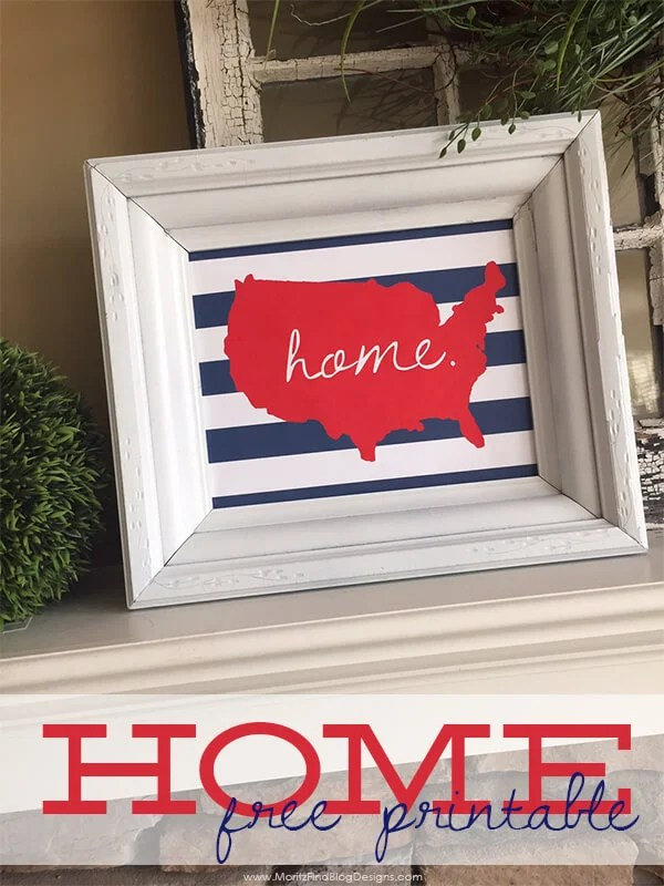 USA Home Print by Moritz Fine Designs - Celebrate the 4th of July with these free patriotic printables! Get more than 20 red, white, and blue printables from your favorite bloggers!