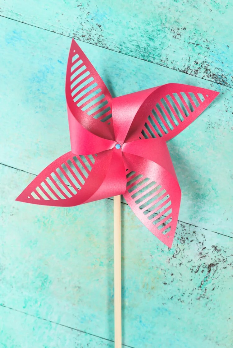 Red Patriotic Pinwheel. Get the free SVG/DXF cut files for these decorative patriotic pinwheels! Delicate cut-outs made using your Cricut Explore make these star-spangled pinwheels a hit at any 4th of July party.