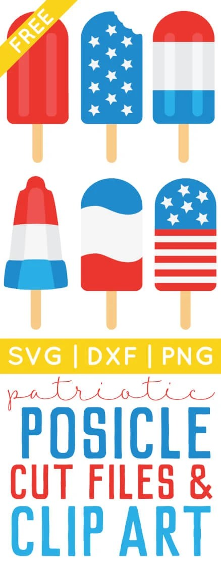 Get ready for Independence Day with free 4th of July popsicle SVG / DXF cut files and PNG clip art! Eight delicious designs for all of your patriotic projects. via @heyletsmakestuf