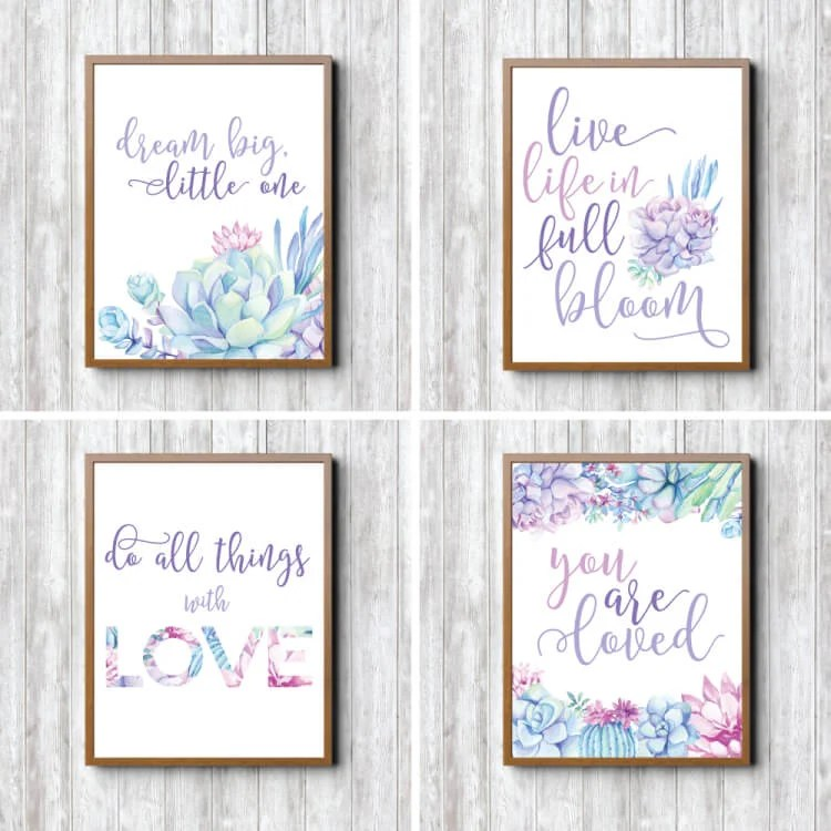 These prints are perfect for a baby shower, as well as hanging in her nursery after the big day! They will remind your little girl just how loved she is.