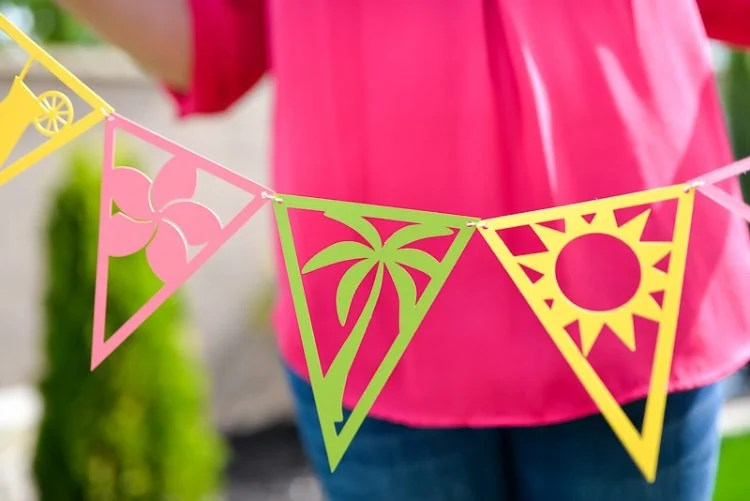 Detail of Tropical Pennants - Tropical themed party decorations, cut on the Cricut or Silhouette, are perfect for any beachy party! Get all nine detailed SVG or DXF files and feel like you're sitting on the sand.