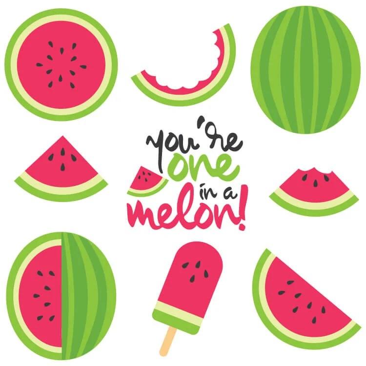 Summer watermelon. Cut files clip art