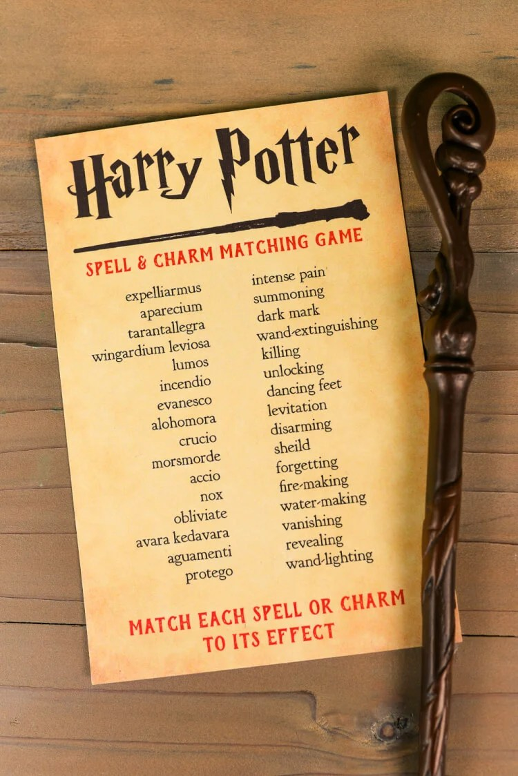 image regarding Harry Potter Printable Spell Book identified as Printable Harry Potter Spells and Charms Matching Sport - Hey