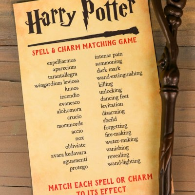 Printable Harry Potter Spells and Charms Matching Game
