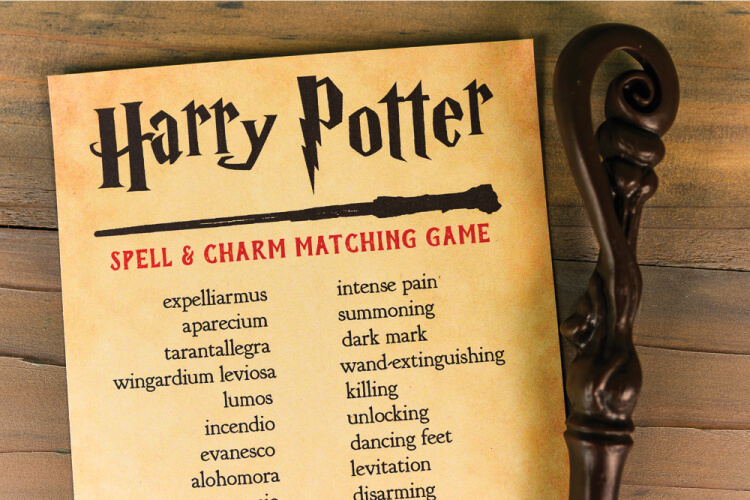 Printable Harry Potter Spells and Charms Matching Game - Hey, Let's