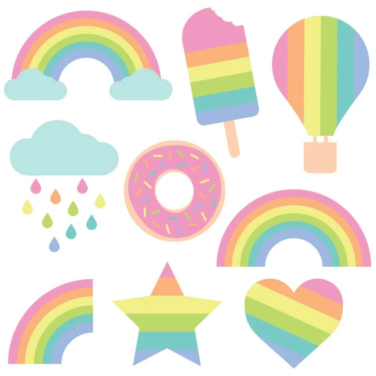 Get your color on with these free pastel rainbow cut files and PNG clip art! Nine bright designs for all of your summer projects.