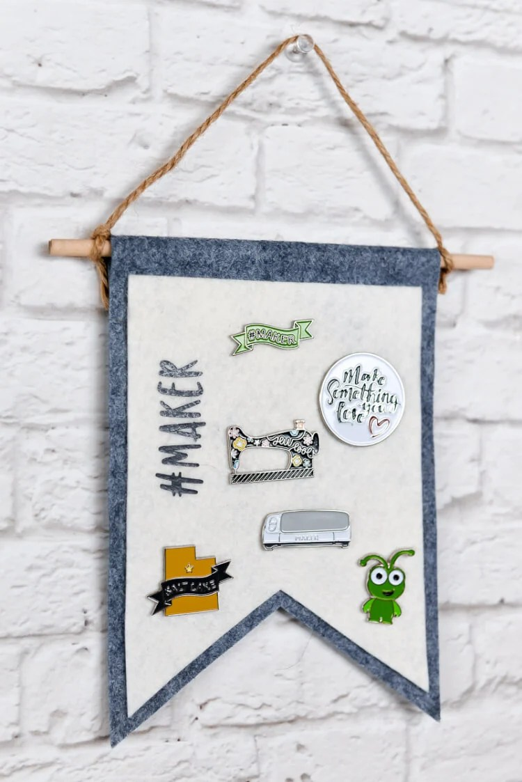 Collecting pins? Make a felt pin display banner to hold them! Designed to be cut on the new Cricut Maker, but also includes PDF for cutting by hand.