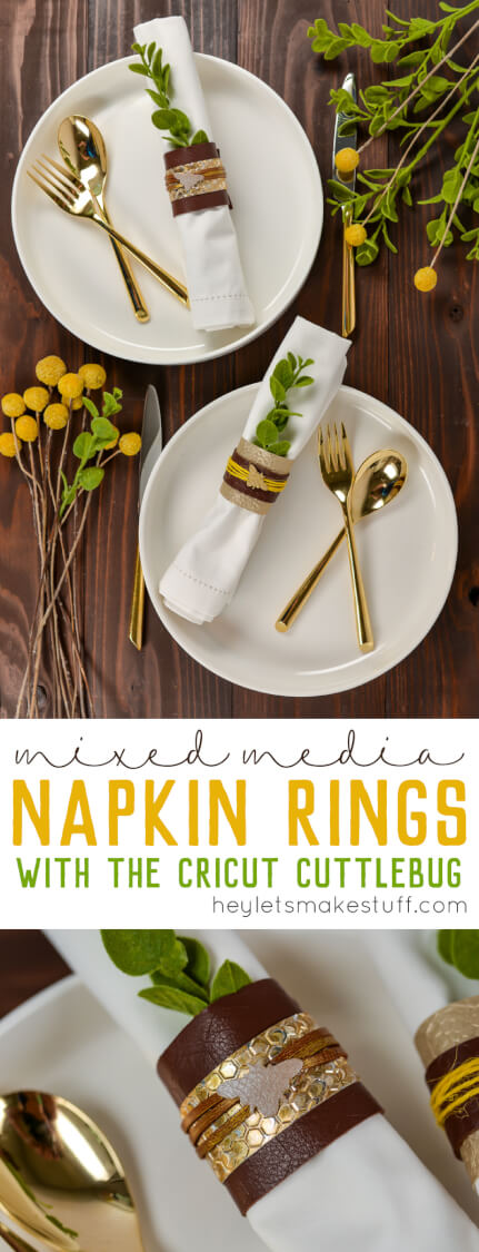 These mixed media DIY napkin rings are the perfect scrap-buster! Grab scraps of paper, leather, ribbon, cord, and your Cricut Cuttlebug and create these totally customizable napkin rings for any event!