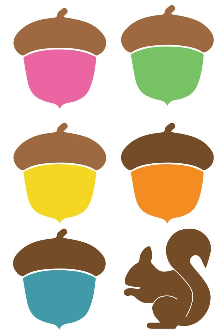 Channel your inner nut with these colorful acorn cut files and clip art! Nine PNG and SVG designs for all of your autumn projects.